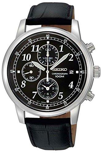 Seiko Mens Chronograph Black Strap - Men's Stainless Steel Quartz Chronograph Black Dial Strap