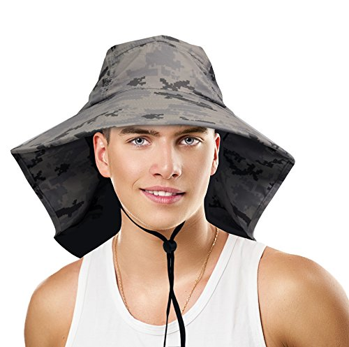 Sun Blocker Unisex Large Bill Flap Sun Hat Camping Hiking Hunting Fishing Cap, Digital Gray
