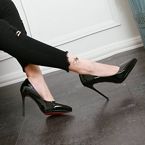 KHSKX-Autumn Is Fine With High Heels Leather Shoes Simple Shallow Mouth Black 7rZwKia