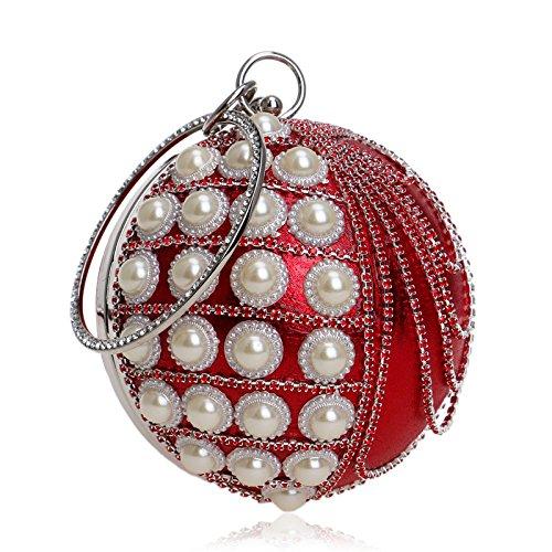 Embrague Rojo La Borlas Noche Brillo Regalo Bolsa Bolsa Clubes Esféricas Para Antigua De Diamante Perlas De Bolso De Hombro Novia Color Bolso Las Mujeres Boda De Prom De Damas AUqxzfzw5