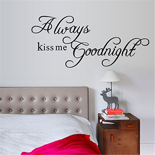 TraveT Always Kiss Me Goodnight Quotes Wall Art Home Decor (Best Good Night Photos)