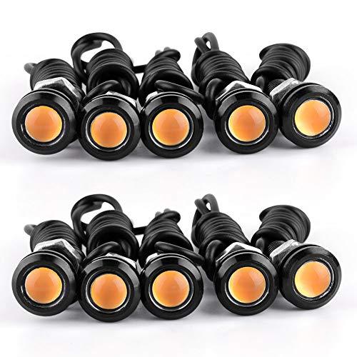 YITAMOTOR 10 Pack LED Eagle Eye Bulbs Amber Car Motorcycle Daytime Running Lights DRLs Fog Signal Backup Reverse Power Wheel Front Grill Bumper License Plate Universal Light