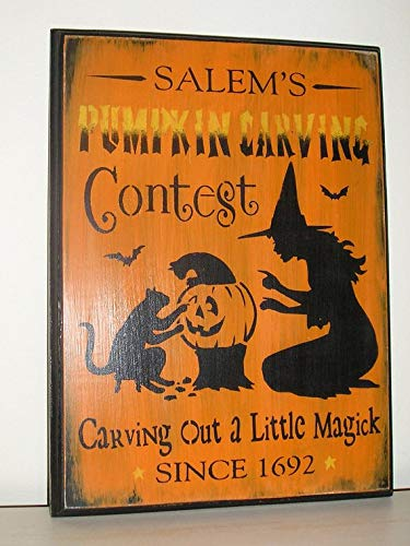 WoodSign MarthaFox Pumpkin Carving Contest Sign/Halloween Sign/Black/Orange/Witch/Pumpkin/Halloween Decor/Wood Sign/Black -