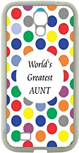 Rikki KnightTM World's Greatest Aunt Colored Polka Dot Design Samsung? Galaxy S4 Case Cover (White Hard Rubber TPU with Bumper Protection) for Samsung Galaxy S4 i9500