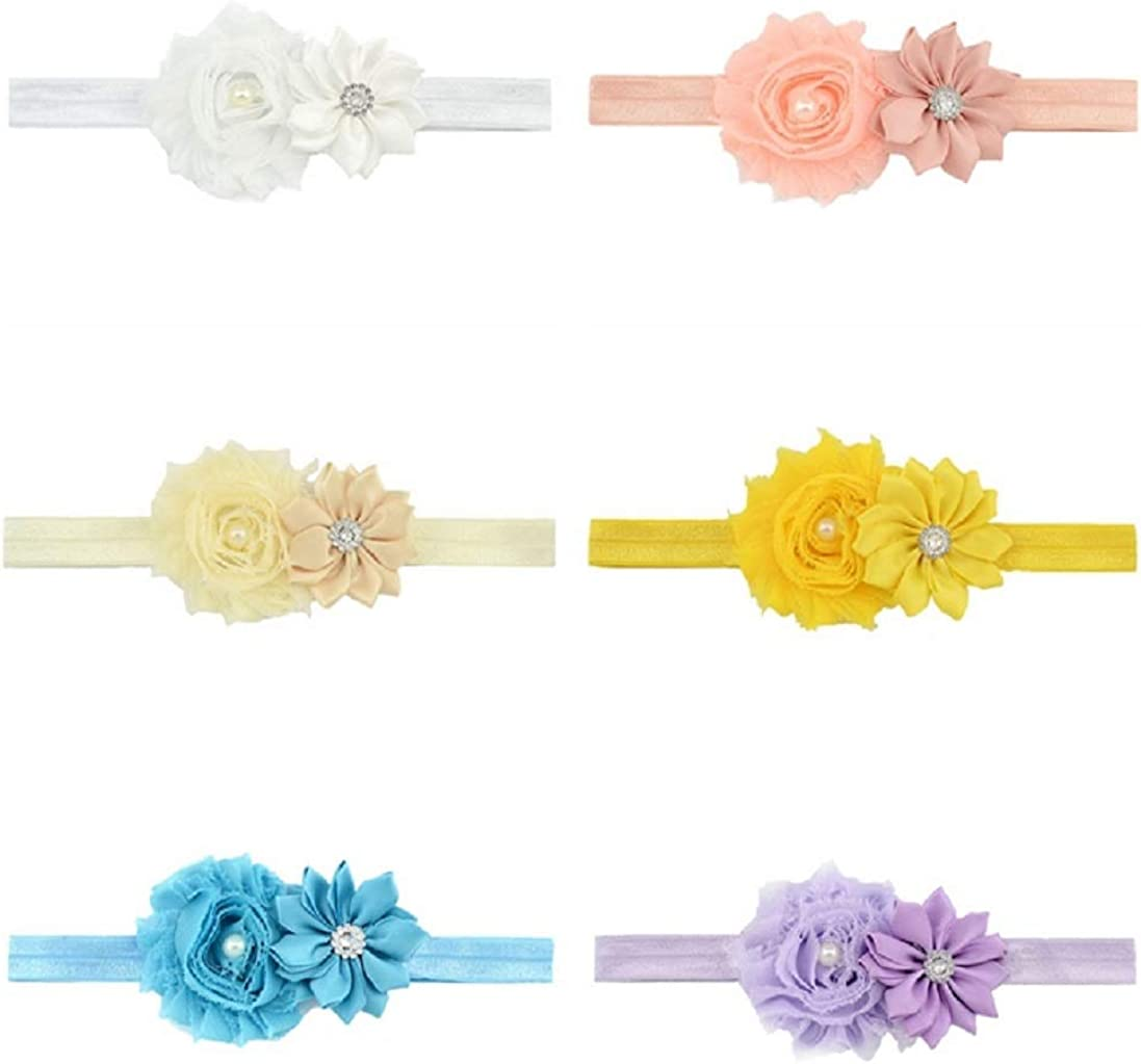 Baby Girls Nylon Headbands, IIS Chiffon Flowers Bows Newborn Infant Toddler Hairbands and Child Hair Accessories (Multicolored-11-12PCS)