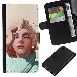NEECELL GIFT forCITY // Billetera de cuero Caso Cubierta de protección Carcasa / Leather Wallet Case for Sony Xperia Z1 L39 // Pintura Rubia