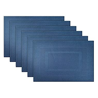 DII Everyday, Easy to Clean Indoor/Outdoor Woven Vinyl Double Border Placemats, 13x18 , Nautical Blue - Set of 6