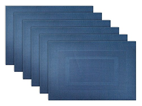 DII Everyday, Easy to Clean Indoor/Outdoor Woven Vinyl Double Border Placemats, 13x17.75