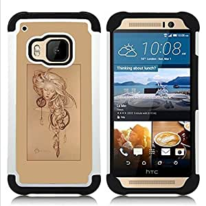 - brown dream catcher poster girl sleep - - Doble capa caja de la armadura Defender FOR HTC ONE M9 RetroCandy