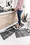 2 Piece Non-Slip Anti-Fatigue Kitchen Mat – (17.7' x 29.5'+17.7' x 59') Soft Non Skid Throw Rugs Runner Carpet Kitchen Hallway Entryway Bedroom – Oil Resistant Long PVC Kitchen F