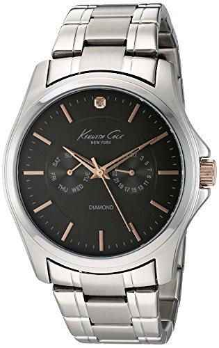 Kenneth Cole New York Men's 10022311 Genuine Diamond- Rock Out Analog Display Japanese Quartz Silver Watch