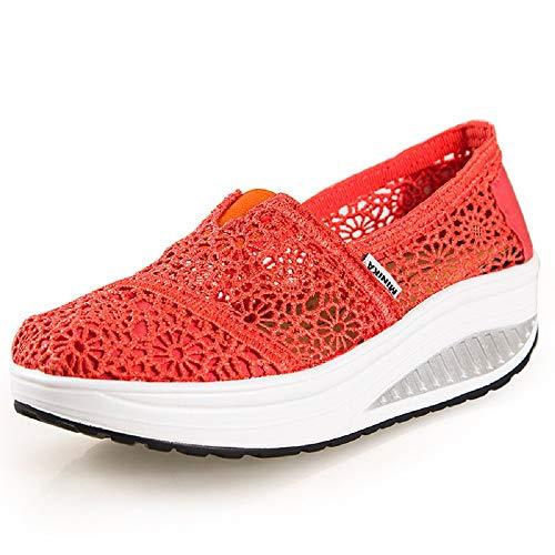 Qiusa Zapatos de Encaje de Flores Mujeres Zapatillas de Deporte Transpirables con Suela oscilante (Color : Rosa roja, tamaño : EU 40) Naranja