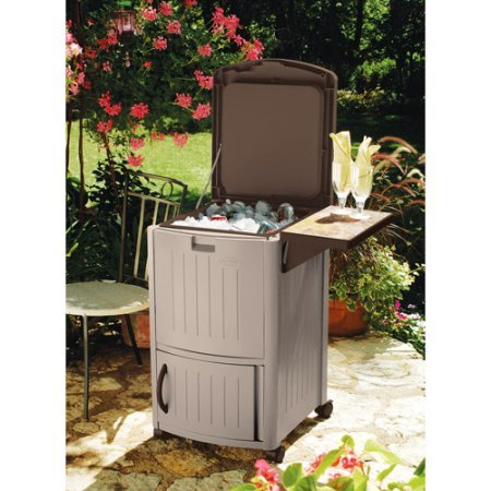 77 Qt Suncast Resin Cooler Station With Drop Leaf Extension