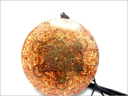 Jet Metatron Orgone Pendant Round 2 inch approx. 3rd Eye Activation Boost Healing Gemstone Chakra Balancing Jet International Crystal Therapy Booklet Handmade Hand Crafted Carved Energy Powerful by Jet International