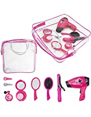 deAO Parrucchieri e Vanity Borsetta Beauty Styling Set Girls Pretend Makeup e Accessori per Capelli Playset Incluso asciugacapelli Giocattolo e bigodini
