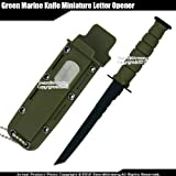 Etrading Green Small Marine Knife Replica Letter Opener Mini Dagger Tanto Serrated Edge
