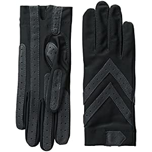 isotoner Women's Spandex Stretch Shortie Cold Weather Gloves with Leather Palms and Chevron Details