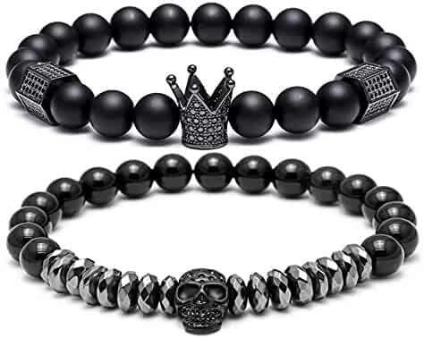SEVENSTONE 8mm Crown King Charm Bracelet for Men Women Black Matte Onyx Stone Beads