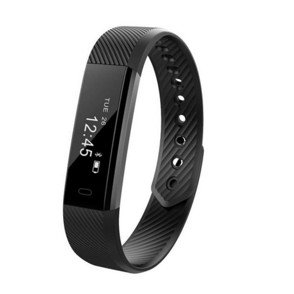 noir  QNKEG Traqueur futé intelligentregarder d'activité de Sommeil de podomètre de Montre-Bracelet de Mode pour iOS Android