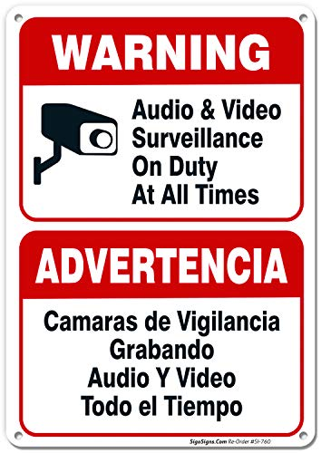 Audio & Video Surveillance on Duty at All Times, 10x7 Rust Free .040 Aluminum, UV Printed, Easy to Mount Weather Resistant Long Lasting Ink Made in USA by SIGO SIGNS