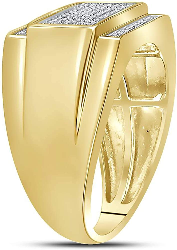 Yellow-tone Sterling Silver Mens Round Diamond Rectangle Cluster Ring 1//3 Cttw