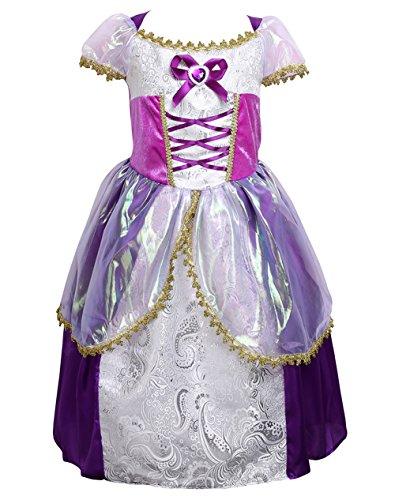 [Girls Purple New Princess Dress Halloween Christmas Rapunzel Fancy Dress Costume (130cm for 6-7] (Fancy Dress Christmas Costume)
