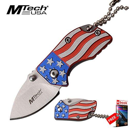 "American Flag Folding Pocket Knife Keychain Mini Mtech 1.4"" Stainless Blade razor sharp + FREE eBOOK by MOON KNIVES!"