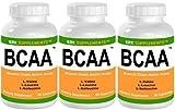 3 Bottles BCAA Branched Chain Amino Acids L-Valine L-Leucine L-Isoleucine 270 Total Capsules KRK Supplements
