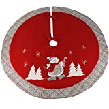 "Image of Wewill 35"" Luxury Thick Christmas Tree Skirt Embroidered Snowman with Tartan Design Home Ornament(Style 5)"