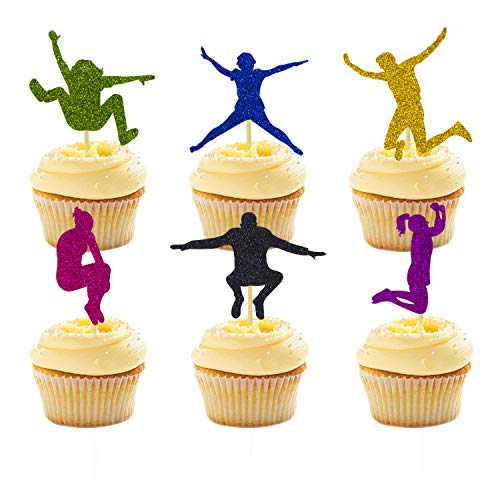 House Cake - 24 Packs Trampoline Cupcake Topper Bounce House or Jumping Party Gymnastics Kids Birthday Decorations