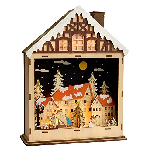LED Wooden Christmas Church Scene Decoration LED City lights Village LED Wood House Rooftop Santa LED Christmas Town LED Forest Deer LED Here Comes Santa LED (Christmas Night LED) Village Scene Christmas Lights