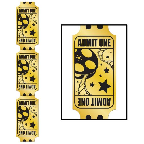 Jointed Foil Golden Ticket Pull-Down Cutout Party Accessory (1 count) (1/Pkg) -