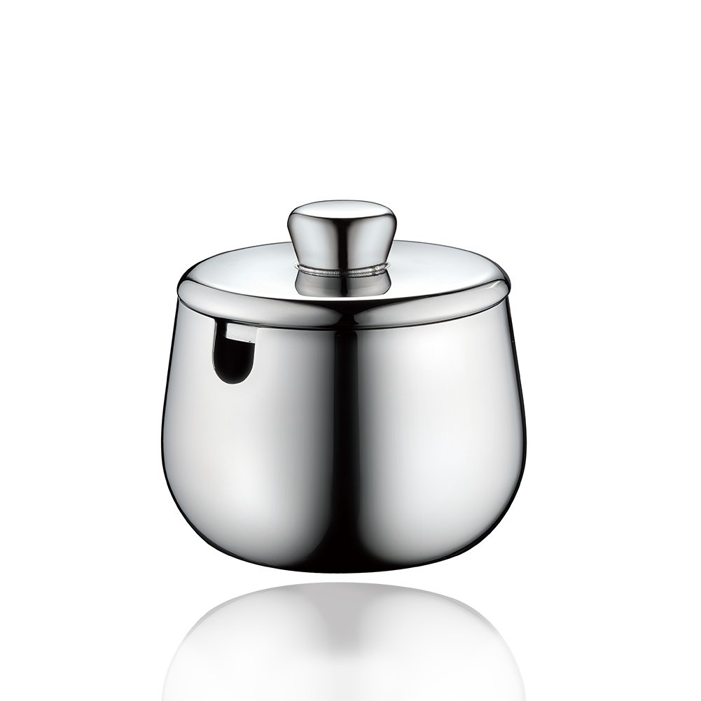 Minos Stainless Steel Sugar Bowl With Lid: With 5 OZ Condiment Server - Hand Polished; Wear and Scratch-Resistant Best When Serving Coffee And Tea On Table