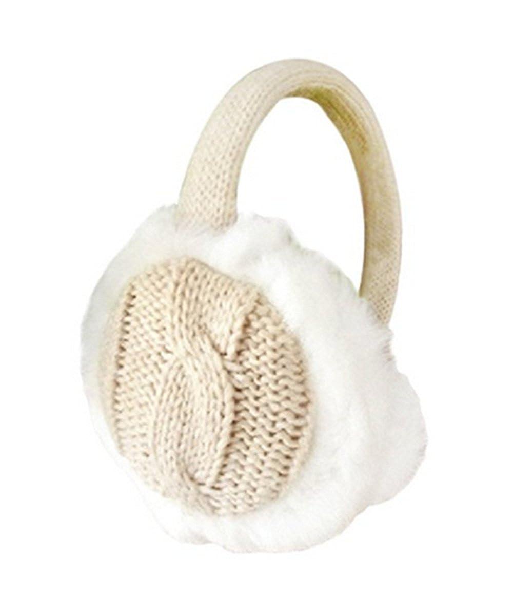 Ishua Girls Ladies Plush Ear Warmers Kintted Earmuffs Winter Warmer Khaki