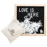 Black Felt Letter Board 10x10 Inch By Goya Boutique: Square Letterboard With Changeable Characters For Quotes And Messages, 580 Tiles Of 3/4'' and 1'' With 2 Cotton Bags, With Stand For Home Decoration