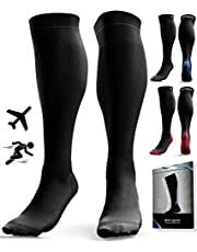 Compression Socks for Men & Women (20-30 mmHg) - Anti DVT Stockings - Swollen Legs - Varicose Veins - Edema - Running - Sports - Nurses - Shin Splints Calf Pressure Support - Pregnancy - Blood Circulation - Flight Travel - S/M