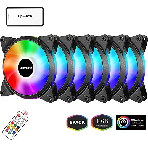 upHere 6-Pack 120mm Silent Intelligent Control Addressable RGB Fan Adjustable Colorful Fans with Controller and Remote,T6C63-6 ()