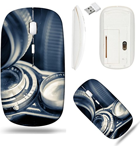 Liili Wireless Mouse White Base Travel 2.4G Wireless Mice with USB Receiver, Click with 1000 DPI for notebook, pc, laptop, computer, mac book IMAGE ID 33527652 Vintage twin reflex camera and lenses