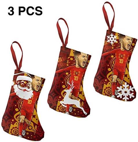 クリスマスの日の靴下 (ソックス3個)クリスマスデコレーションソックス ベルギーサッカー クリスマス、ハロウィン 家庭用、ショッピングモール用、お祝いの雰囲気を加える 人気を高める、販売、プロモーション、年次式