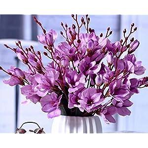 Mr Go Shop 4pcs Artificial Flower Artificial Azalea Fake Faux Primroses Bouquet Arrangements Home Garden Table Patio Wedding Party Christmas Decoration (17.7 inch)(Pink) 10