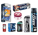 Arko Shaving Set (Cool Shaving-Foam, Extra Performance Shaving Cream, Aqua Balm, Silver Cologne, Cool Lotion, Pomegranate and Red Grape Cream, Shave Soap, Razor)
