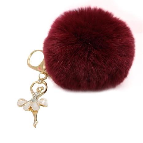 Binmer (TM) Cute Peluche bolsa de piel de conejo llavero ...