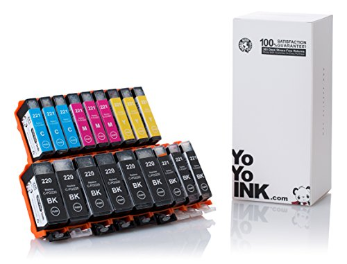 YoYoInk 18 Pack Compatible Ink Cartridge Replacement for Canon PGI-220 & CLI-221 (6 Big Black, 3 Small Black, 3 Cyan, 3 Magenta, 3 Yellow) with Ink Level Indicator - Color Mx Canon Ink