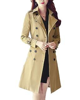 Classic Pink Femme Revers Manteau Double Boutonnage Longue Paragraphe  Coupe-Vent Ceinture Coat cb6bc4f413fc