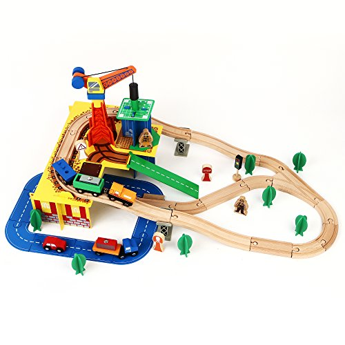 [Wooden Railway Set - iPlay, iLearn 80 PCS Construction site Wood Tran set 100% Compatible with All Major] (Fire Dog Costume For Toddler)
