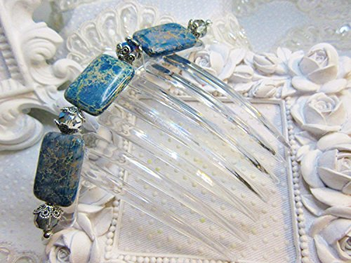 Imperial Denim - Denim Blue Imperial Jasper and Two tone Austrian Crystals French Twist Large hair comb, Semi Precious Hair comb, Brides blue french Comb