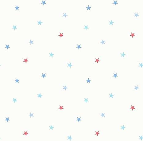 Decorline Papier Peint Carrousel Motif Petites Etoiles Bleu Rouge