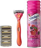 Schick Quattro for Women Shaving Starter Gift Set with 1 – Quattro for Women Razor, 4 – Quattro for Women Razor Blade Refills, and 1 – Skintimate Raspberry Rain Shave Gel for Women