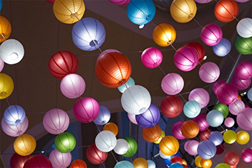 Paxcoo 12 Pack Paper Lanterns with Assorted Colors and Sizes by PAXCOO (Image #6)