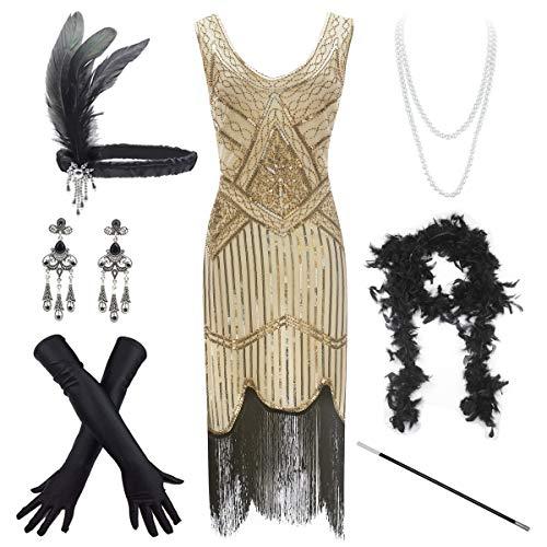 - Women's Vintage 1920s Sequin Beaded Tassels Hem Flapper Dress w/Accessories Set (2X-Large, Gold2)